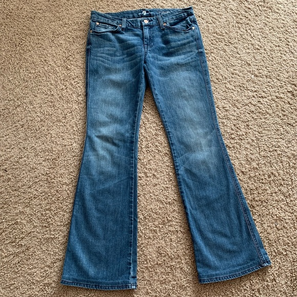 7 For All Mankind Denim - 7 For All Mankind Flare A Pocket Studded Jeans